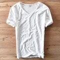 Italia estilo de la moda de algodón de manga corta camiseta de los hombres casual clothing v-cuello blanco de verano camiseta de los hombres de marca para hombre camisetas camiseta
