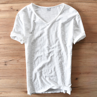 Italy Style Fashion Short Sleeve Cotton Men T Shirt Casual V Neck White Summer T Shirt