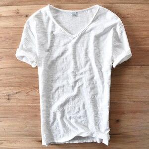 Image 1 - איטליה סגנון אופנה קצר שרוול כותנה גברים חולצה מקרית V צוואר לבן קיץ חולצה גברים מותג בגדי Mens Tshirts Camiseta