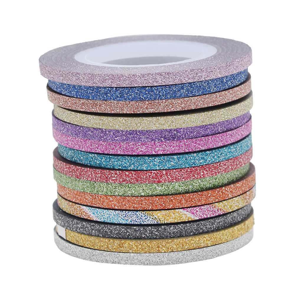 NEW 12 Color Glitter Nail Striping Line Tape Sticker Set Art Decorations DIY Tips For Polish Nail Gel Rhinestones Decorat 2019 M