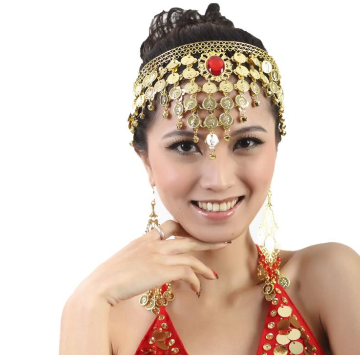Belly Dance Costume Headwear Metal Coins Tiara Hair Sticks Arab African Egypt India Dance Accessory Hairbands