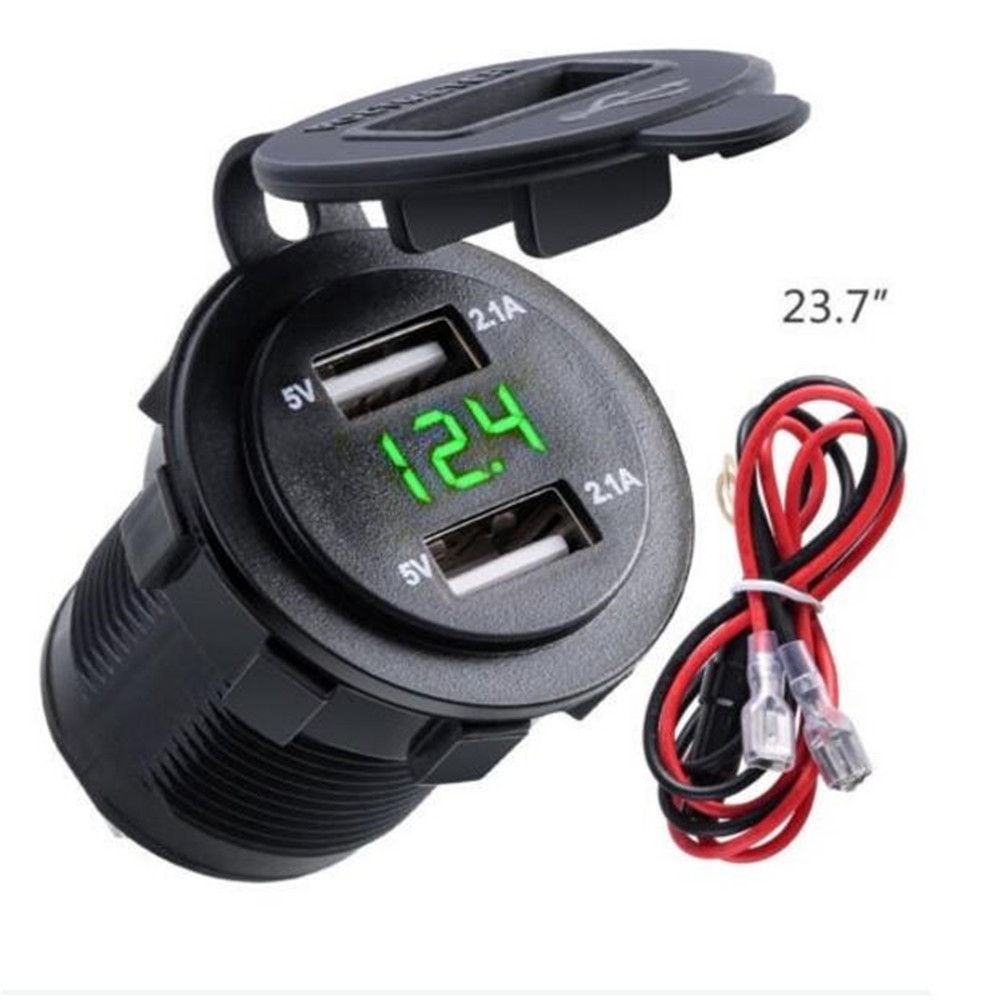12V/24V 4.2A Car Cigarette Lighter Socket Dual USB Charger Adapter LED Voltmeter Mini Digital Voltage Meter Tester Monitor