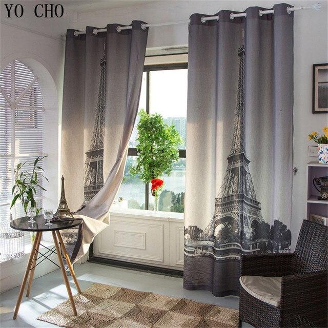 Paris Eiffel Tower Blinds Blackout Curtains 3d Modern Thicken Linen Curtains  European Style Blackout Curtains For