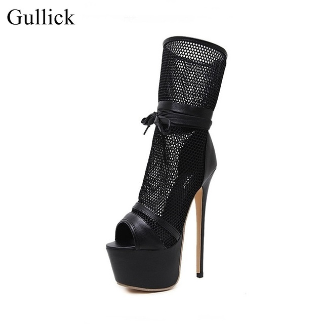 e68ac50ba15 Gullick Brand Black Mesh Mid-calf Boot Peep Toe Lace-up High Platform  Sandals Boots Women High Heels Gladiator Sandals Boots