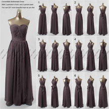 Elegant New Dark Gray Long DIY Convertible Bridesmaid Dresses Formal Chiffon A Line Wedding Party Dress Prom Gown Custom S248
