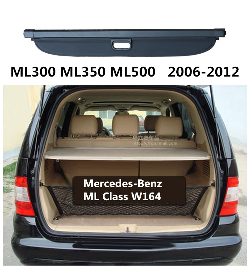Car Rear Trunk Security Shield Cargo Cover For Mercedes-Benz ML Class W164 ML300 ML350 ML500 2006-2012 High Qualit Accessories car rear trunk security shield cargo cover for hyundai tucson 2006 2014 high qualit black beige auto accessories