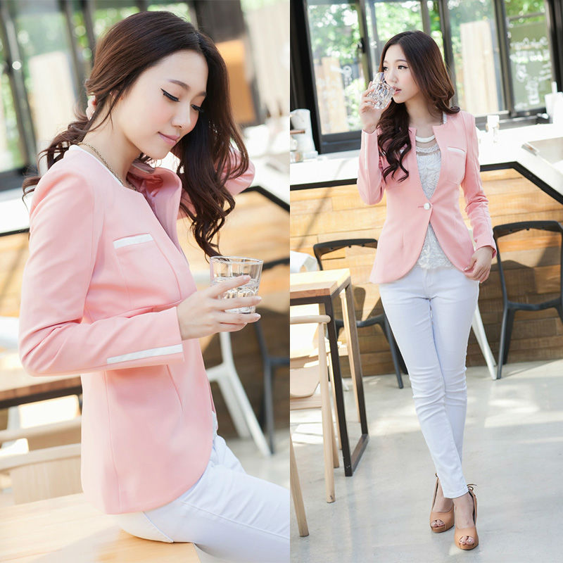 Pink Ladies Coat Suit Winter Dress Blouse Blaser Dress Blaser Suit