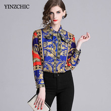 370b9bf37e5c89 Baroque Style Womans Blouses Turn-down Collar Female Printed Blouse OL Bow  Regualr Shirts Spring