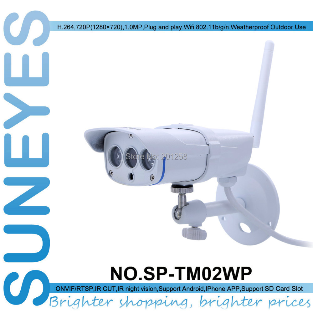 SunEyes SP-TM02WP 720P HD Wifi Wireless IP Camera Outdoor ONVIF with RTSP and TF/Micro SD Slot P2P Plug and Play IR Night Vision suneyes sp p701ewpt p1801swpt hd pan tilt rotation ip camera wireless outdoor with micro sd slot 720p and 1080p optional