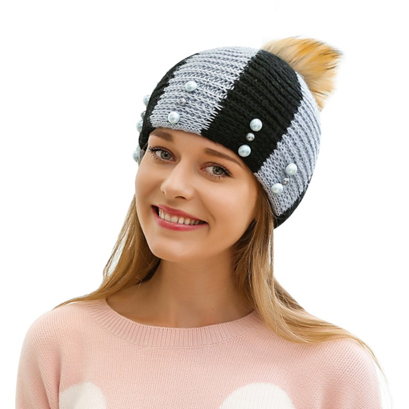 bd8e6a071e1 2017 New Autumn Winter Warm Beanies Hats for Women Pearl Knitted ...