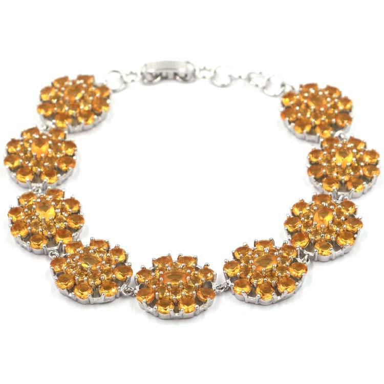 """Okouzlující zlatý citrín SheCrown dámský svatební náramek7,0-7,5in """"18x17mm"""