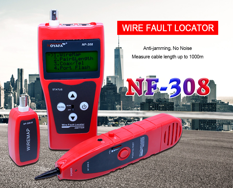 US $44 16 47% OFF|Network monitoring cable tester LCD NF 308 Wire Fault  Locator LAN Network Coacial BNC USB RJ45 RJ11 red color NF_308-in  Networking