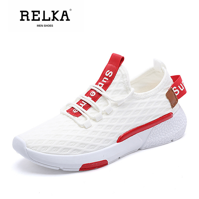 RELKA Classic Men Fashion Casual Shoes Luxury Flying Round Toe Comfortable Heel Shoes Mixed Color Soft Basic Sports Shoes P95