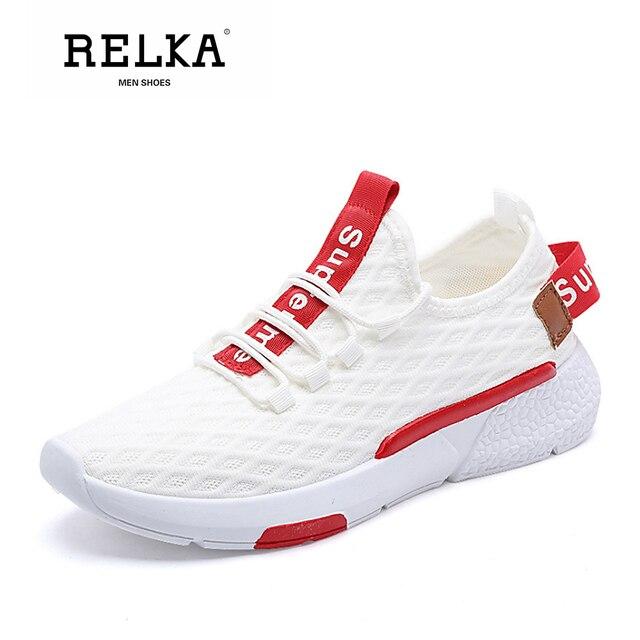 RELKA clásico de los hombres zapatos casuales de moda Zapatos de lujo de vuelo punta redonda cómodos zapatos de tacón Color mezclado suave básica zapatos deportivos zapatos P95