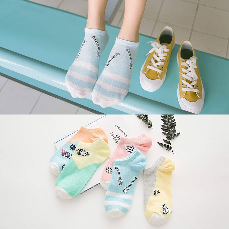 2 Pairs Lot Summer Boat Sock Female Cotton Candy Color Boat Socks Japanese Cute Solid Color Ladies Boat Sock Wholesale 5 Styles in Sock Slippers from Underwear Sleepwears
