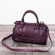 Vintage Designer Vegetable Tanned Leather Female Rivet Pillow Handbag Retro Women's Shoulder Bag Ladies Boston Crossbody Bag