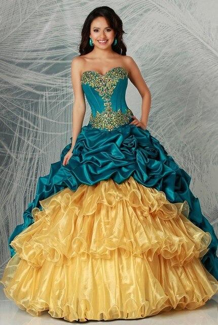 a844a36d86 Mejor Precio de Color Azul Marino y Amarillo Vestido de Quinceanera Hermoso  vestido de Bola Del
