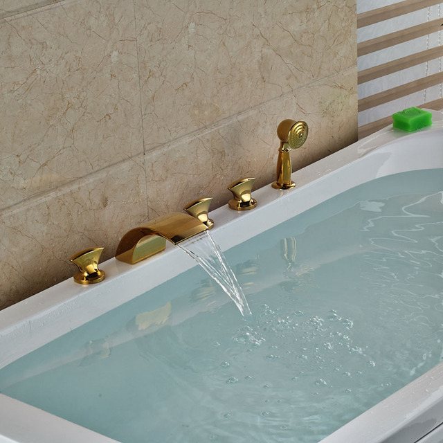 Brand New Brass Golden 5pcs Waterfall Spout Bathtub Faucet Set Deck Mount Three  Handles With Handshower