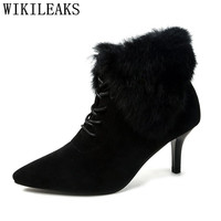 Autumn Winter Woman Shoes High Heel Boots Women Sexy High Heels Women Boots Black Gray Ankle