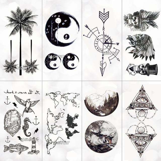 Tatuaje temporal del mapa del mundo a prueba de agua pegatina mujeres Coco árbol planeta patrón cuerpo Arte Nuevo diseño falso hombres tatuajes