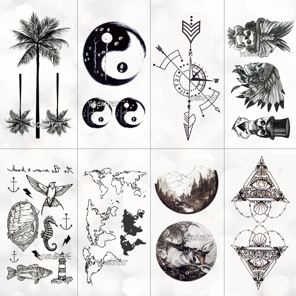 Waterproof World Map Temporary Tattoo Sticker Women Coconut Tree Planet Pattern Body Art New Design Fake Men Tattoos