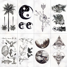 Waterproof World Map Temporary Tattoo Sticker Women Coconut tree planet pattern Body Art New Design Fake Men Tattoos(China)