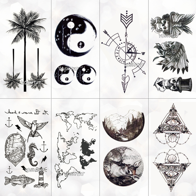 Coconut Tattoo Design Meaning: Waterproof World Map Temporary Tattoo Sticker Women