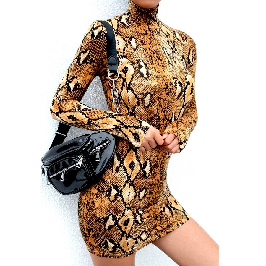 HTB1O94qatjvK1RjSspiq6AEqXXaQ Snake Skin Print Turtleneck Short Sleeve Dress 2019 Autumn Women Sexy Bodycon Snakeskin High Neck Party Mini Dresses