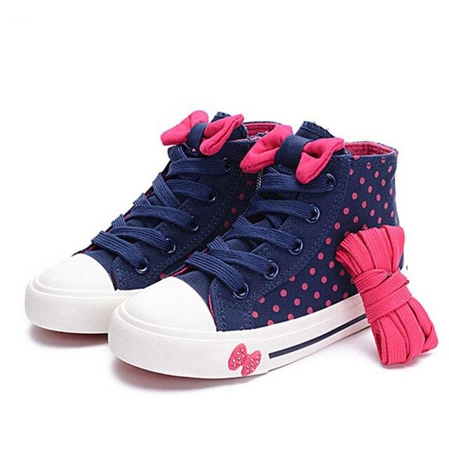 Hot Sale 2017 Autumn Children Shoes Girls Shoes High Top Lace Up Girls  Canvas Shoes Bowknot 81977066e