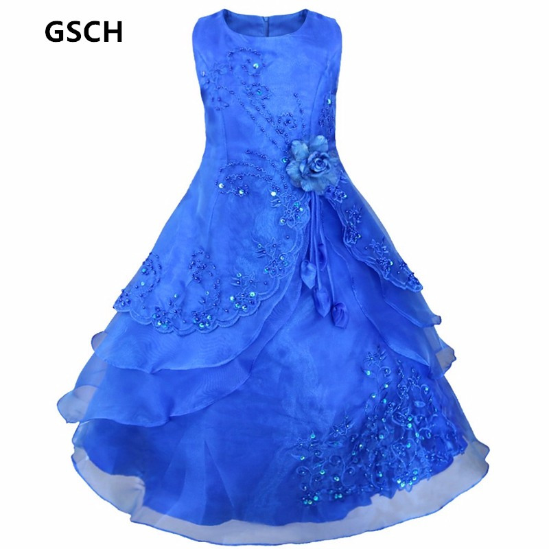 Embroidered Flower Girl Dress Kids Pageant Party Wedding Bridesmaid Ball Gown Prom Children Princess Formal Occassion Long Dress ball gown sky blue open back with long train ruffles tiered crystals flower girl dress party birthday evening party pageant gown