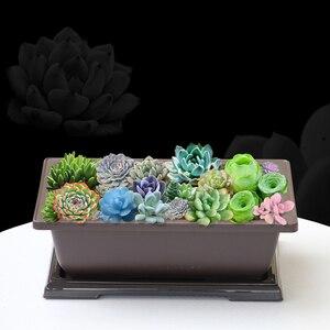 Image 2 - Prostokątne symulowane fioletowy piasek duże plastikowe sukulenta antyczne Bonsai doniczka balkon domu narzędzia ogrodowe prezent Hot