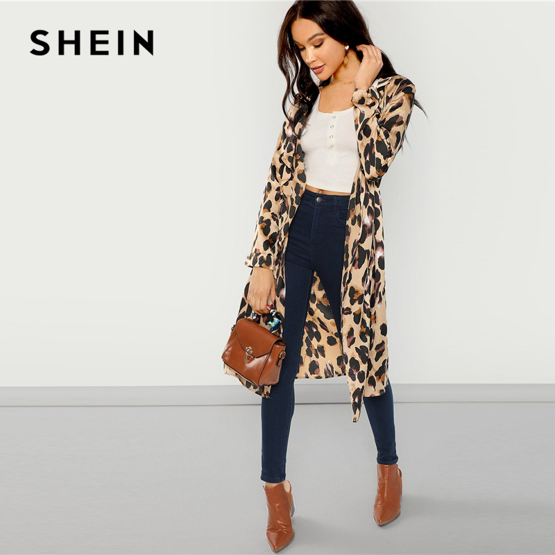 a36a0dffb8 SHEIN Apricot Workwear Elegant Open Front Shawl Collar Leopard Print  Fashion Coat 2018 Autumn Highstreet Women Coats Outerwear-in Trench from  Women's ...