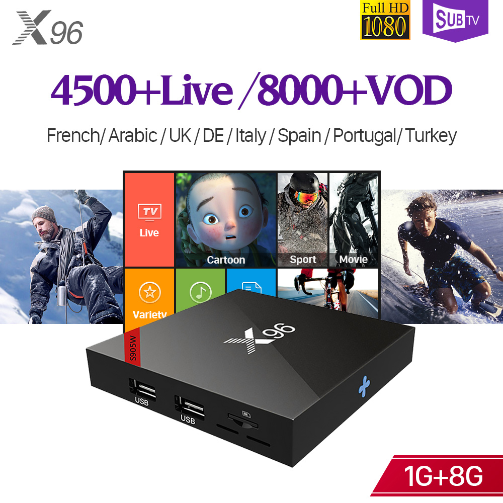 IPTV Full HD France arabe Italia SUBTV X96W Android 7.1 S905W 4K H.265 décodeur 1 an abonnement IP TV Code turquie Portugal