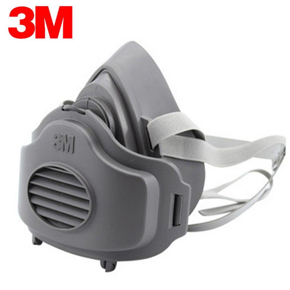 3M 3200 + 50pcs filtres demi visage poussière gaz masque KN95 respirateur sécurité masque de protection Anti poussière Anti vapeurs organiques PM2.5 brouillard