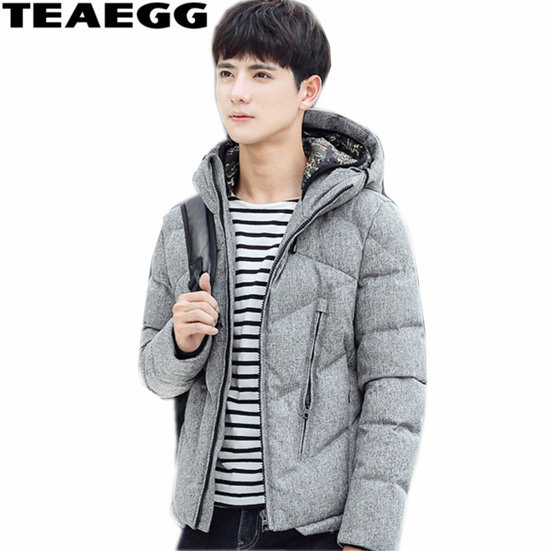 TEAEGG Men s Down Jacket White Duck Down Jackets For Men Clothing Hood Gray Winter Mens Down Coats And Jackets Outwear AL506