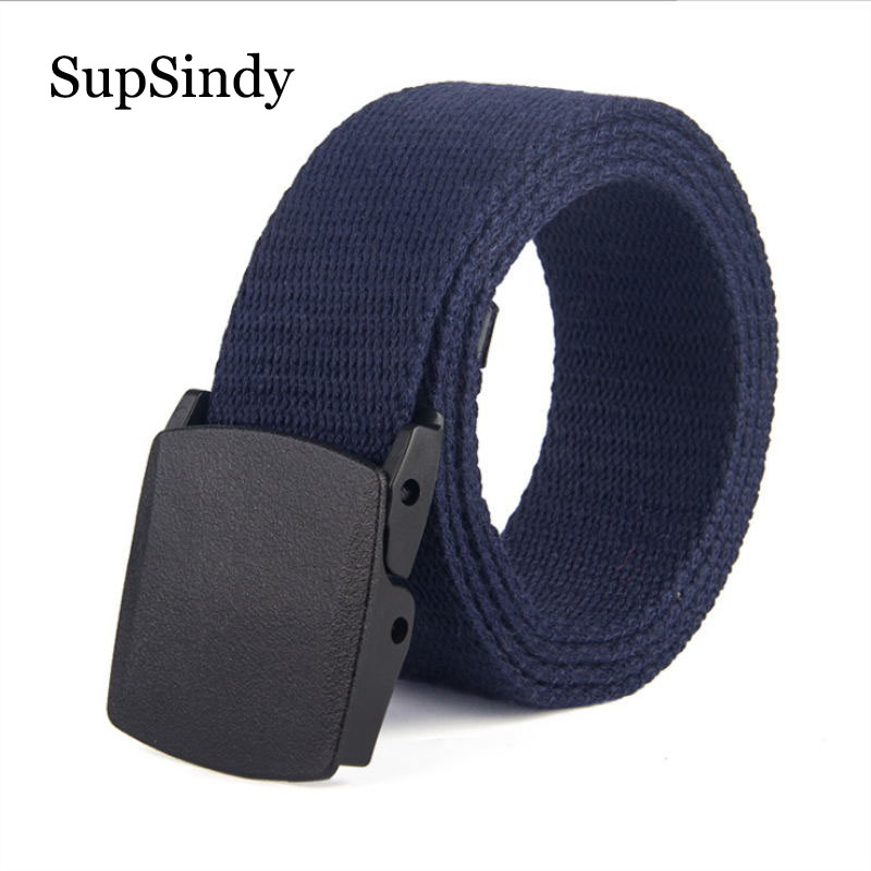 SupSindy Men's Belt Fashion POM Automatic Buckle Canvas Belts For Women Waistband Army Tactical Belt Prevent Allergy Strap Black