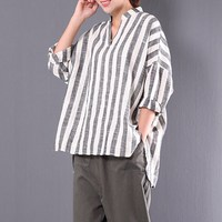 CELMIA Casual V Neck Long Sleeve Loose High Low Blouse Women Autumn Retro Baggy Cotton Linen