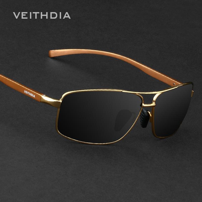 VEITHDIA Marca Mejor Aleación Hombres Gafas de Sol Lentes Polarizadas Accesorios para Conducir Gafas de Sol Gafas de Sol Para Hombres 2458