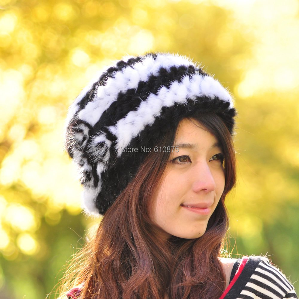 Hot Sale high quality Female knitted mink hair wool hat winter thermal fur hat thickening import mink hand knitted pineapple mink hat fur hat thermal millinery rabbit hair hat