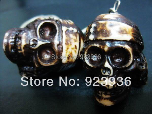 FREE SHIPPING Lots 10PCS Mans Cool Heavy Skull Beads Jewel Yak Bone Biker Keychain F&SH