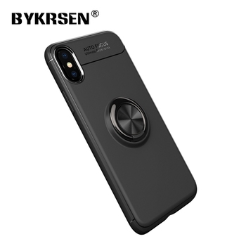 Original BYKRSEN Luxury Ring Holder Phone Case Magnetic Car Stand Soft Silicone Matte Cover For iPhone 6 8 7 Plus X 10 Case Capa iphone xr case magnetic