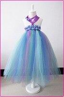 Gökkuşağı renk tutu elbise bebek kız mor yay notBaby Noel Elbiseler Vaftiz Elbise ile Çocuk Tatil Giyim