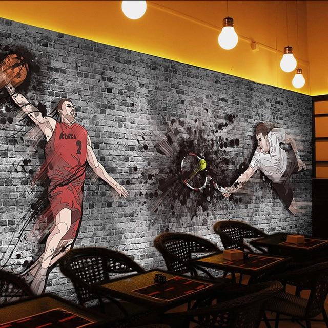 Custom Basketball Mural Gray Brick Wallpaper For Living Room Bar Ktv Restaurant Background Wallpapers