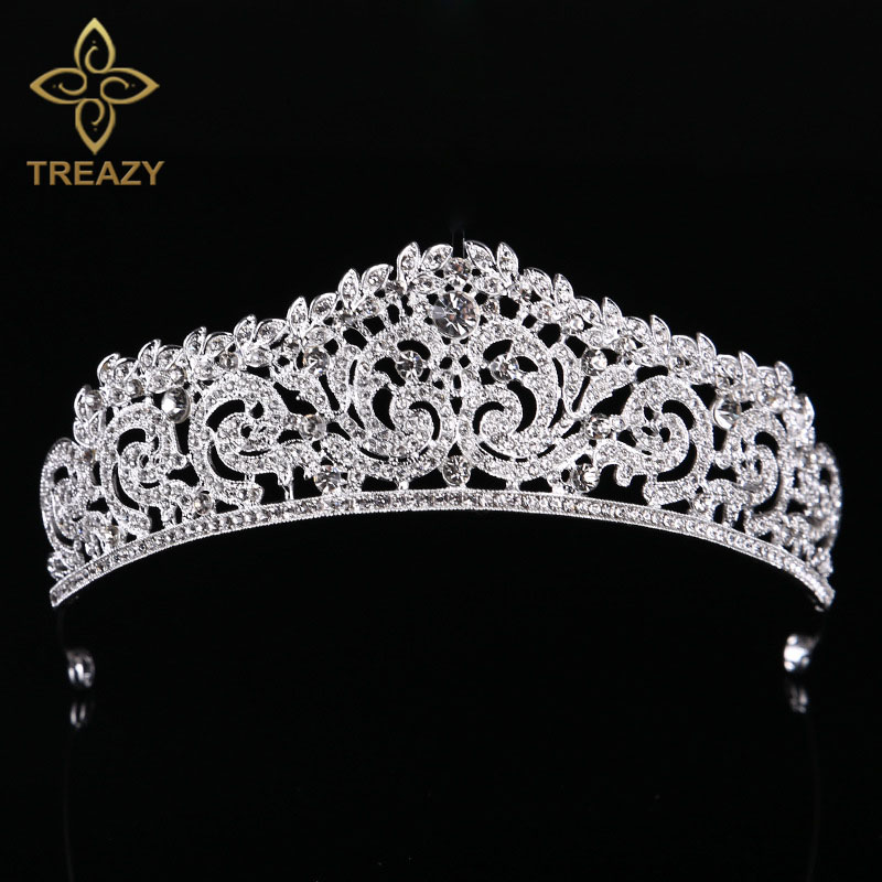 TREAZY Silver/Gold Color Bridal Crystal Rhinestone Tiara Crown Princess Queen Pageant Prom Tiaras Wedding Hair Accessories