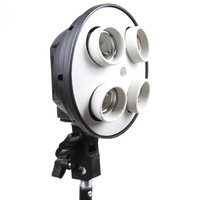 4 Socket E27 Lamp Bulb Head Photo Video Studio Light Umbrella Bracket Holder US Plug