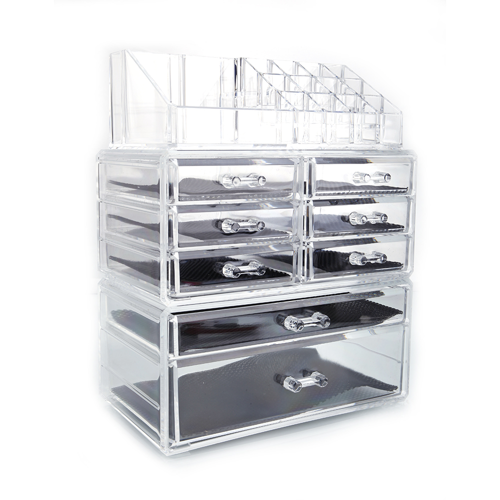 Cosmetic Table Us 22 69 Acrylic Cosmetic Table Organizer Makeup Holder Case Box Jewelry Storage 8 Drawer Us In Makeup Organizers From Home Garden On