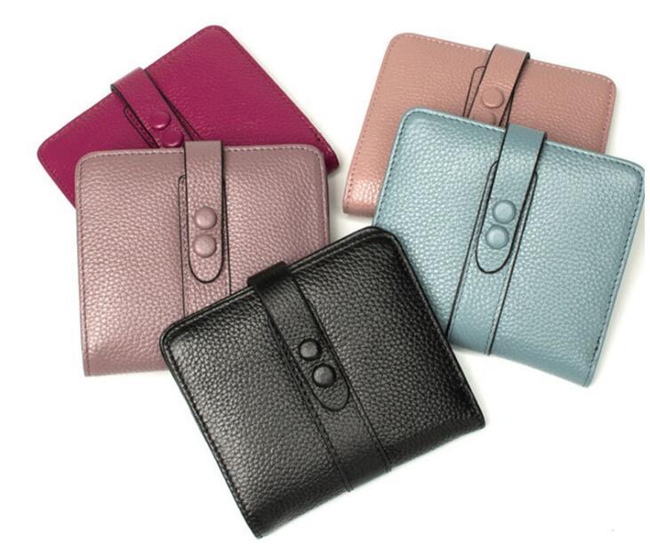 Echt leer zachte korte portemonnee 2 map portemonnee voor vrouwen-in Portemonnees van Bagage & Tassen op  Groep 1