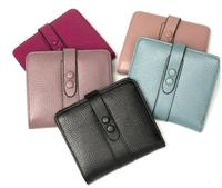 Genuine leather soft short wallet 2 folder coin purse for women