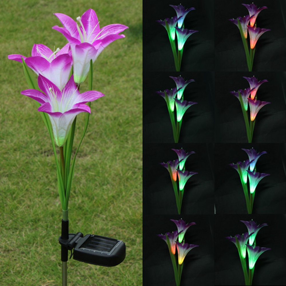 Purple LED Solar Power Lily Flower Garden Stake Light Color Changing  Outdoor Garden Path Yard Decoration 3 LED Flower Party Lamp In Solar Lamps  From Lights ...