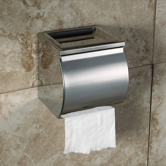 BLH 861 Modern Toilet Paper Holder Stainless Steel Box With Ashtray Dish Cellphone Shelf